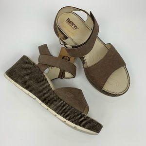 Born Open Toe Wedge Platform Sandals NWT SZ 8